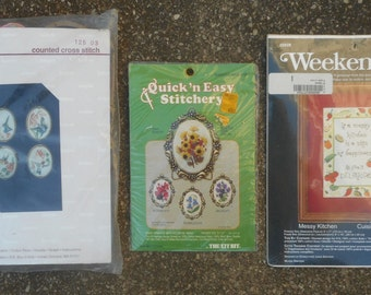 Vintage Counted Cross Stitch or Embroidery Kits