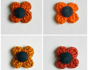 Pin lapel flower. Cotton. Custom boutonniere. Men accessories. Men lapel pin. Lapel stick pin. Tangerine, orange, brick, saffron yellow.