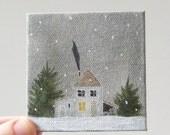holiday farmhouse / original painting on canvas