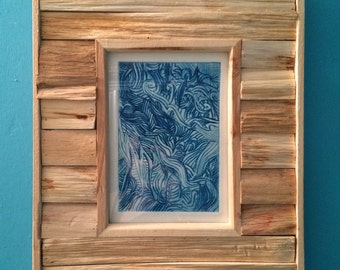 Drypoint print in wooden frame