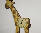 Spring SALE Giraffe Wooden WALL CLOCK for Kids Bedroom Baby Nursery Wc0068