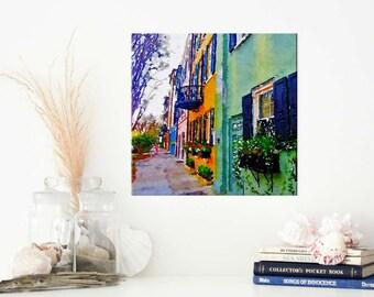 "Rainbow Row Charleston SC - Charleston Art - Charleston Photo - Charleston Print - South Carolina Art - Southern Charm - Canvas Print 8""x8"""