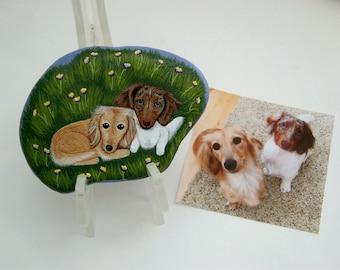 Custom Portrait dog-Pet portrait-Custom Pet Portrait-painting from your photo-pet memorial-personalized gift idea-painted pet rock-fine art
