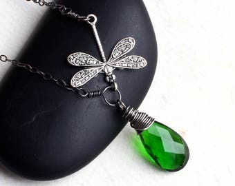 "Emerald Green Quartz Necklace, Dragonfly Necklace, Oxidized Sterling Silver - ""Green Dragon"" by CircesHouse on Etsy"