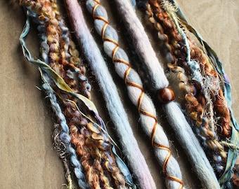 5 Cool Tones Tie-Dye Wool Synthetic Dreadlock *Clip-in Extensions Boho Dreads Hair Wraps & Beads Custom