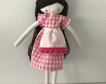 Handmade rag doll , Carla- ooak cloth art rag doll polka dots dress, hat and socks toys for girls