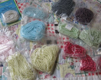 Very Large Lot of Vintage Strings of Small Simulated Pearls in Different Colors
