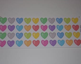 Colorful Small Heart Stickers / Great Stickers for your Erin Condren Life Planner / Scrapbooking / Crafting