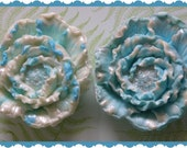 FLOWER SoAP Gift Set Of 2 - Beautiful Sparkling Blue & White - Mom - Birthday - Florist - Garden Party Floral Club - Thank You Hostess Gift