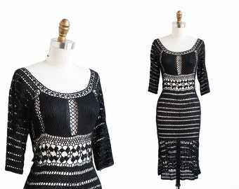 vintage 90s dress / Black Crochet 1970s Style Wiggle Dress