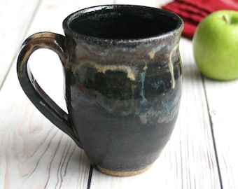Handmade Rustic Stoneware Mug in Dark Grey and Black Glazes Handcrafted Coffee Cup Ready to Ship Made in USA