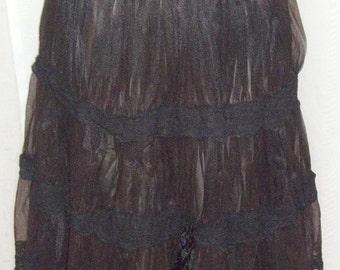 ON SALE Vintage Charmode Ruffled Tiered Hem Half Slip Chiffon Lace Crinoline Small