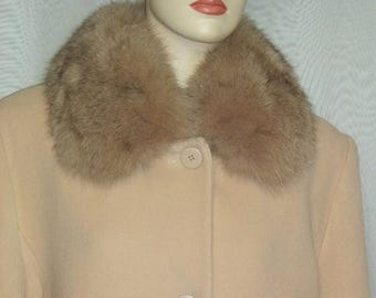 ON SALE Vintage Forecaster Lambswool and Fox Fur Long Coat 14 Large Womens