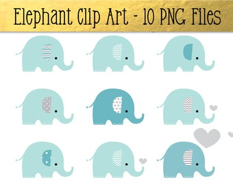 Blue Elephant Designs - A Cute Set of Elephant Images-Clip Art PNG Files -Perfect for Invitations,Decorations,Cards,Notices and Scrapbooking