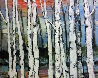 """Birch trees painting sunset sunrise white birches 20 x 16 x 1.5"""" Commisioned Painting"""