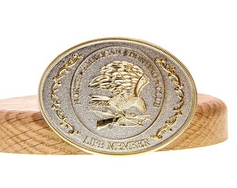 North American Hunting Club Life Member Golden Eagle Belt Buckle w/Box