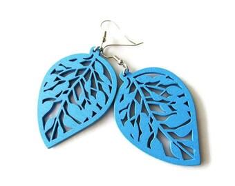 Blue Wooden Leaf Dangle Earrings, nature hippie, light weight