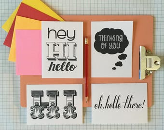"""hand-lettered """"thinking of you"""" note cards variety pack (set of 4)"""