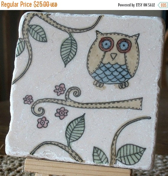 LuckySale Painted Woodland Whimsical Oliver the Owl Absorbent Tile Coasters, Set of 4