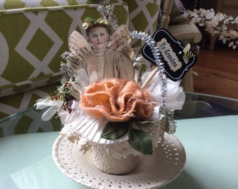 Grandma Gift - Victorian Grandma Gift - Altered Peat Pot