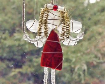 Sea Glass Fairy Suncatcher, Rare Red Sea Glass Fairy  Ornament