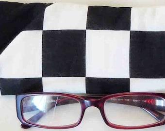 Black White Checkered Flag Squares - EyeGlasses, Sunglasses, Holder, Case, Cozy