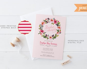 BRIDAL SHOWER invitation | pink peony floral wreath | pink peonies | stripe | personalized | print at home