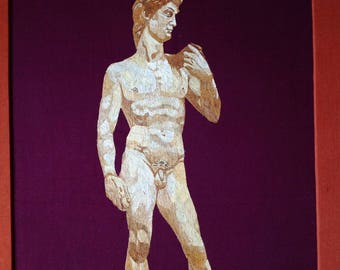 Michael Angelo's DAVID on rice straw art. Handmade with rice straw. Museum piece. Unique gift. Only one made. Collectible handmade art
