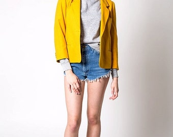30% OFF HOLIDAY SALE The Vintage Mustard Yellow Wool Usa-Made Blazer Jacket