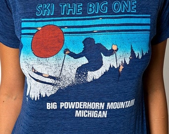 "30% OFF HOLIDAY SALE The Vintage 50/50 Blue ""Ski the Big One"" Big Powderhorn Mountain Shirt"