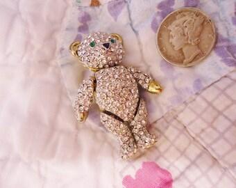 Vintage Articulated Teddy Bear Pin Crystal Rhinestones