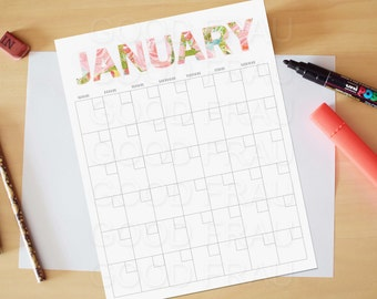 January Calendar, Printable calendar, Reusable printable calendar, perpetual, any year, printable DIY, letter size, 8.5 x 11