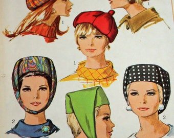 Vintage 1960s Sewing Pattern, Simplicity 7326, Misses' Hats, One Size, Ladies' Hats, Estate Sale Finds, UNCUT, FF,