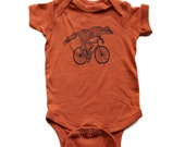 Baby Onesie - Hand Screen Printed FOX on a BICYCLE