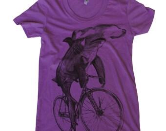 Hammerhead on a Bicycle- Womens T Shirt, Ladies Tee, Cotton Tee, Handmade graphic tee, sizes s-xL