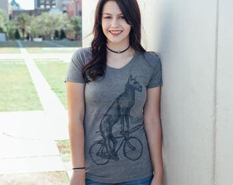 Great Dane on a Bicycle- Womens T Shirt, Ladies Tee, Blended Tee, Handmade graphic tee, sizes S-XXL