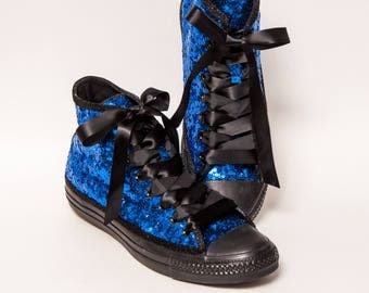Tiny Sequin - Sapphire Blue on Black Canvas Hi Top Sneakers Shoes with Satin Ribbon Laces
