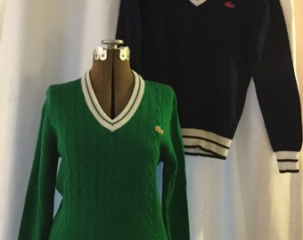 Pair Vintage Lacoste Izod Cable Knit Sweaters NWT