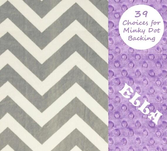 Chevron Minky Baby Blanket Girl,  Lilac & Silver Gray Personalized Baby Blanket - Purple Baby Blanket // Soft Baby Blanket