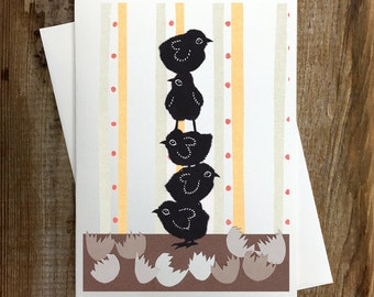 Stack-o-Chicks - Greeting Card