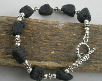 Black Lava with Sterling Silver