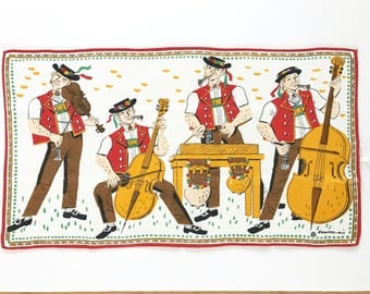 Vintage Tea Towel Switzerland Souvenir Swiss Band Alpine Men Musical Instruments Hanging Wall Textile