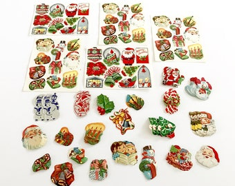 HUGE LOT 175+ Vintage Christmas Gift Tags Seals Stickers NOS New Old Stock Santa Snowman