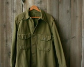 Wool Army Shirt 1940s Army Green Medium Mens Vintage From Nowvintage on Etsy