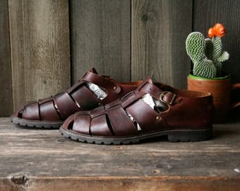 Vintage Mens Leather Sandals Saltwater Style Closed Toe