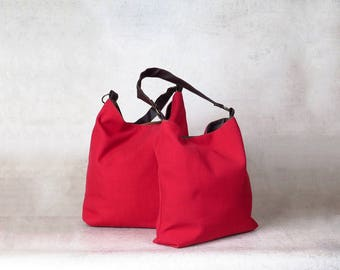 red bag - over the shoulder purse - over shoulder bag - canvas shoulder bag - canvas hobo bag - womens shoulder bag - womens handbags