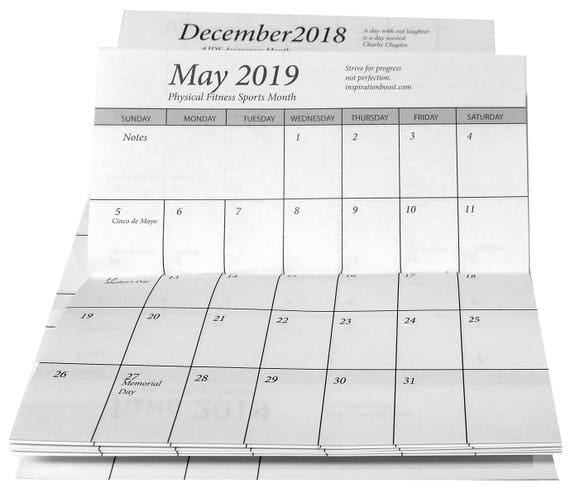 10 pocket calendar 2 year 2018-2019