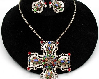 Rhinestone Maltese Cross Necklace, Pendant, Mosaic Glass Cabs, Vintage 1950 Jewelry
