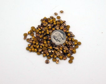 20ss Swarovski Rhinestones, 4.9mm , Light Smoked Topaz, Gold Pointed Backs, (25)