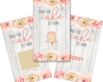 Set of 12 Scratch Off Game Cards for Bridal Showers with Peach Flowers on Wood SCB005